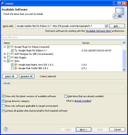 Creating a Google App Engine (GAE) application in Eclipse