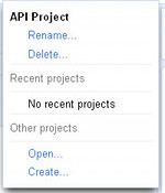 Project drop-down